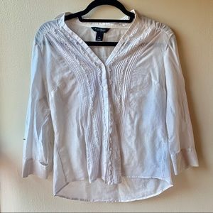 WHBM Long Sleeved White Button-down Blouse
